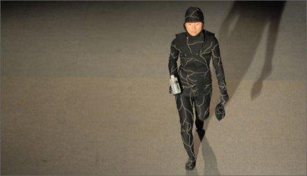 Jae Rhim Lee wearing the Mushroom Death Suit. Image: Mikey Siegel
